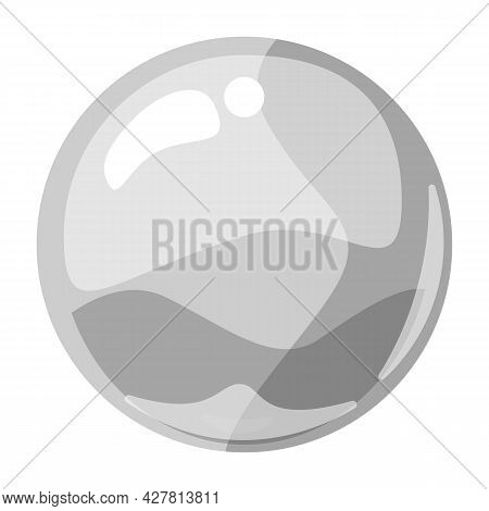 Ball White Shiny Glossy Colorful Game Art. Magic Crystal Glass Sphere, Bubble Shot Elements. Cartoon