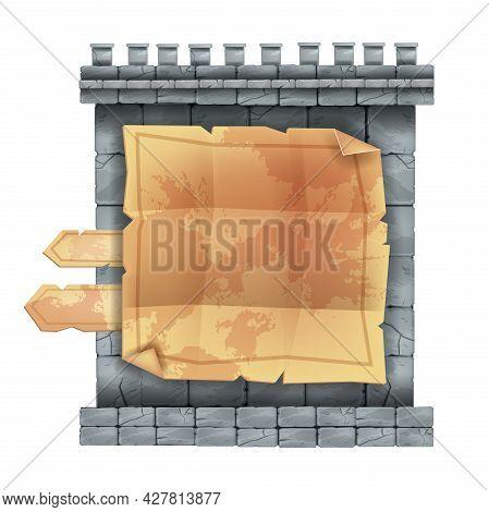 Ancient Stone Castle Wall Game Menu, Ui Rock Sign Board Panel, Old Parchment, Gray Boulder Tiles. 2d