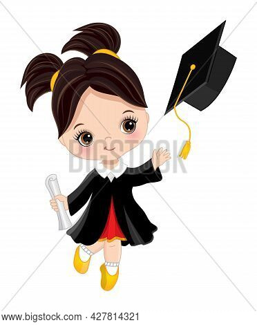 Happy Little Graduation Girl With Diploma. The Girl Is Dressed In In Black Gown Throwing Graduation