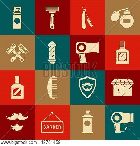 Set Hair Dryer, Barbershop Building, Aftershave, Straight Razor, Classic Pole, Crossed Shaving, Shav