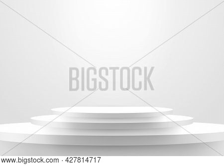 3d Realistic Minimal Scene Empty White Steps Stair Winner Space On Clean Background. Vector Illustra