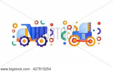 Heavy Industrial Machinery Set, Tractor And Dump Truck Flat Vector Illustration