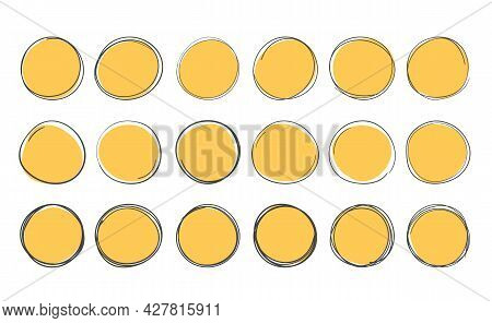 Set Of Yellow Handdrawn Doodle Circles, Vector Eps10 Illustration