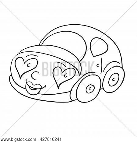 Sketch, Car With Headlights In The Shape Of A Heart, Coloring Book, Isolated Object On A White Backg