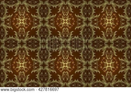 Flat Hand Drawn Vintage Collection. Raster Golden Seamless Pattern. Backdrop, Fabric, Gold Wallpaper