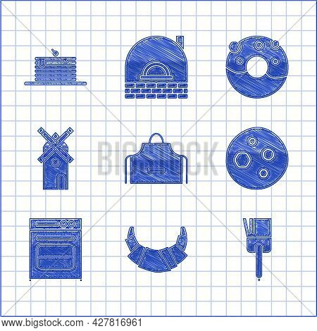 Set Kitchen Apron, Croissant, Brush, Cookie Or Biscuit With Chocolate, Oven, Windmill, Donut Sweet G