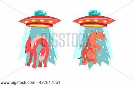 Ufo Abducting Animals Set, Alien Spacecraft Stealing Hippo And Fox Cartoon Vector Illustration