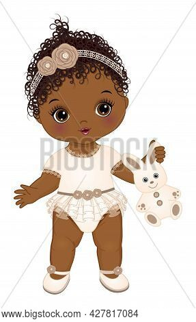 Cute Black Baby Girl Dressed In Boho Style Holding Bunny Toy. African American Baby Girl Is In Lace