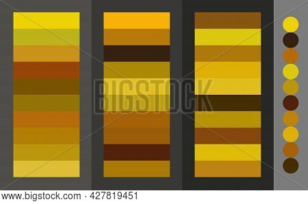 Golden Color Palette Striped Variety Of Colors Vector Illustration Set.interior And Home Decoration