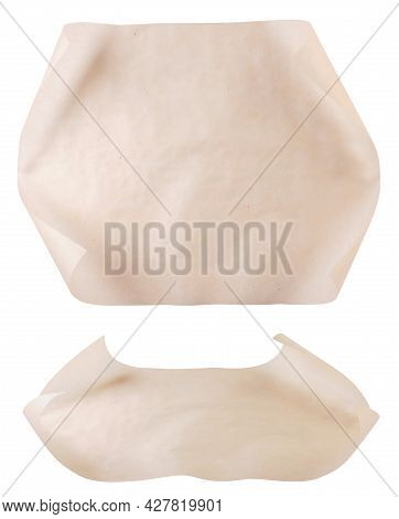 Set Of Parchment For Baking Close-up On A White Background, Kitchen Parchment. Isolated