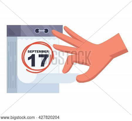 Hinged Calendar 17 September. Important Day For A Person Flat Vector Illustration.