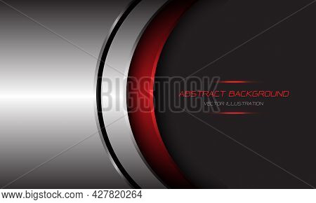 Abstract Silver Red Metallic Curve Black Line On Dark Grey With Blank Space Design Modern Futuristic