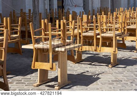 Empty Terrace Of A Closed Street Cafe Due To The Pandemic.