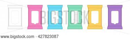 Wet Wipe Packaging Pouch, Sachet Tissue Wipe Package Mock-up For Design, Antibacterial Wipe Plastic