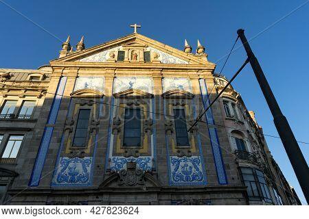 Porto, Portugal - December 01, 2019: San Antonio Church Facade At Sunset In Porto.