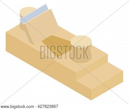 Wooden Hand Jack-plane, Isolated On White Background, Jack Plane, Wood Plane Vector. Carpentry, Wood