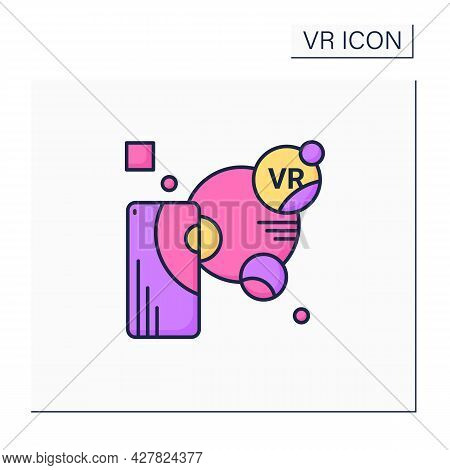 Augmented Reality Color Icon. Objects Residing In The Real World Are Enhanced By Computer-generated