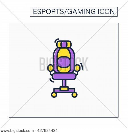 Gaming Armchair Color Icon. Comfortable Chair For Playing Games. Furniture.back Protection. Cyberspo