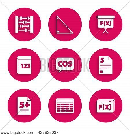Set Mathematics Function Cosine, Calculator, Function Mathematical Symbol, Test Exam Sheet, Book Wit