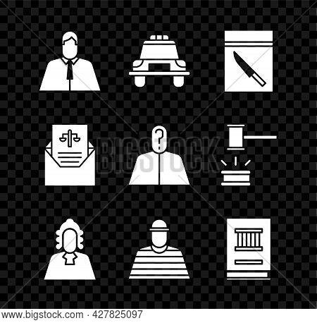 Set Lawyer, Attorney, Jurist, Police Car And Flasher, Evidence Bag Knife, Judge, Prisoner, Book, Sub