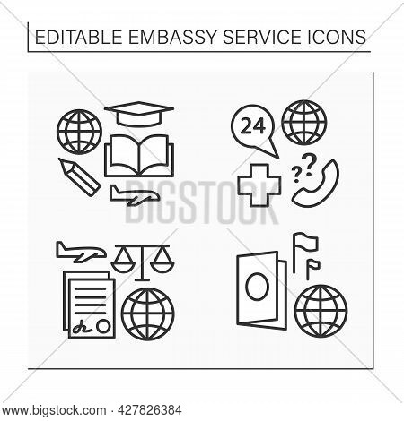 Embassy Service Line Icons Set. Student Visa, Notary Services, Passport, Medical Support. Diplomatic