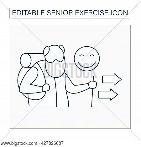 Hiking Line Icon. Positive Emotion After Walking. Scandinavian Walk. Physical Activity. Strong Old M
