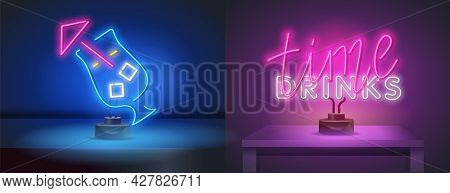 Vector Realistic Isolated Neon Sign Of Drinks Time Lettering For Decoration And Covering On The Wall