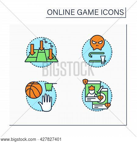 Online Game Color Icons Set. Different Game Types. Rhythm, Team Sport, Collectible Card, Survival Ho