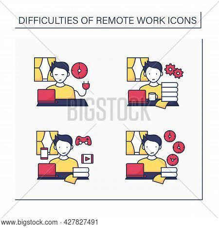 Remote Work Color Icons Set. Unplugging After Work, Overworking, Distractions At Home, Time Zone Dif