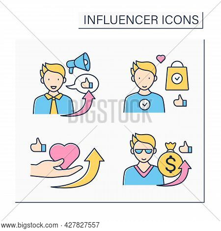 Influencer Color Icons Set. Influencer Sponsorship, Outreach, Ambassador, Marketing. Blogging Concep
