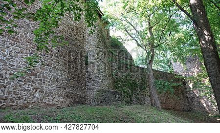 Ruins Of Helfstyn Castle In The Czech Republic. View On The Fortifications Of The Third Courtyard.