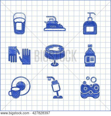 Set Stain On The Tablecloth, Vacuum Cleaner, Sponge, Bottle For Cleaning Agent, Washing Dishes, Rubb