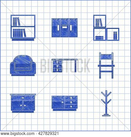 Set Office Desk, Chest Of Drawers, Coat Stand, Chair, Furniture Nightstand, Armchair, Shelf With Boo