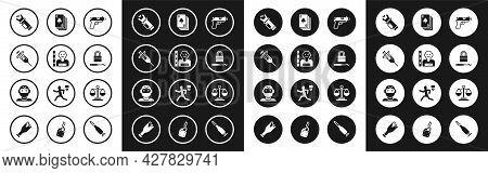 Set Pistol Or Gun, Suspect Criminal, Syringe, Police Electric Shocker, Lock Picks For Lock Picking,