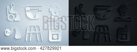 Set Walker, Head Of Deaf And Dumb, Hearing Aid, Press The Sos Button, Adult Diaper And Woman Wheelch