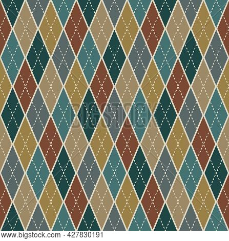 Argyle Seamless Pattern Background. Retro Beige Color Tartan Plaid. Texture Design For Apparel, Text