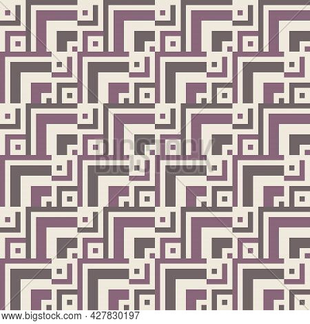 Abstract Background Seamless Geometric Pattern. Square And Rectangular Shape. Purple Brown. Texture