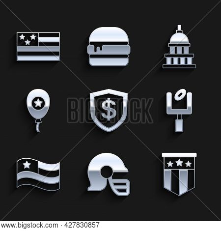 Set Shield With Dollar, American Football Helmet, Flag, Goal Post, Balloons, White House And Icon. V