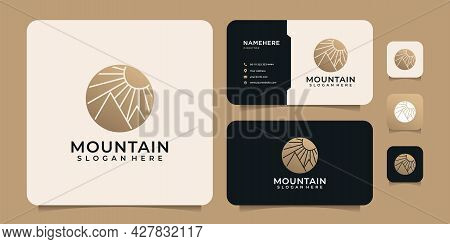 Minimalist Luxury Adventure Mountain Logo Design Elements Peak Hill Expedition. Logo Can Be Used For