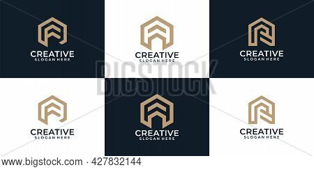 Set Of Modern Elegant Real Estate With Letter F, A, R Logo Vector Elements. Logo Can Be Used For Ico