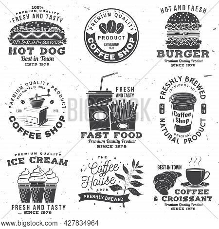 Set Of Coffe Shop And Fast Food Retro Badge Template. Vector Typography Design With Paper Coffee Cup