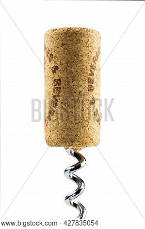 Wine Wooden Stopper Wound On Metal Chrome Corkscrew Isolated On White Background, Close-up, For The