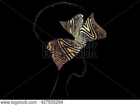Portrait African Woman Wears Bandana For Curly Hairstyles. Shenbolen Ankara Headwrap Women. Afro Tra