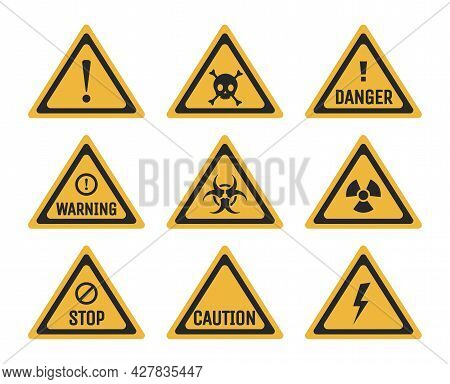 Set Of Prohibition And Warning Signs Vector Flat Illustration. Danger, Stop, And Caution Pictograms