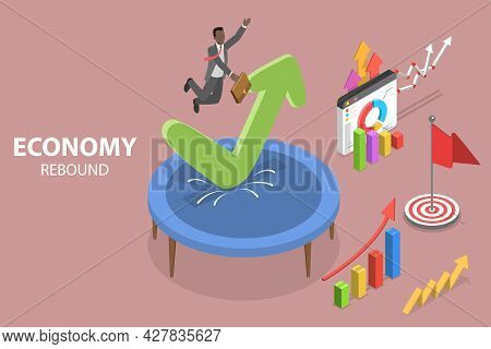 3d Isometric Flat Vector Conceptual Illustration Of Economy Rebound, Economic Stabilization And Reco