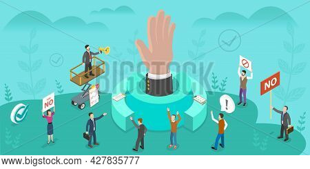 3d Isometric Flat Vector Conceptual Illustration Of Freedom Of Expression And Democracy, Fundamental