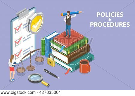 3d Isometric Flat Vector Conceptual Illustration Of Policies And Procedures, Compliance And Policy M