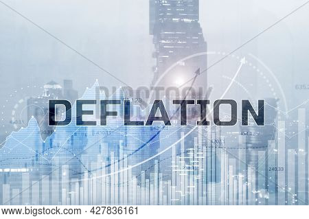 Deflation Concept. General Decline In Prices For Goods And Services.