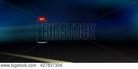 Roadside Portal, Abstract Dark Background. Night Road, Highway Under The Open Starry Sky. Black Clos