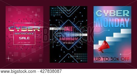 Set Of Three Cyber Monday Sale Poster Concept With Text Space. Discount Banners, Seasonal Offer Vect